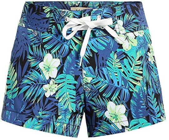 10fdea3056 SSLR Women's Quick Dry Tropical Casual Hawaiian Beach Board Shorts ...